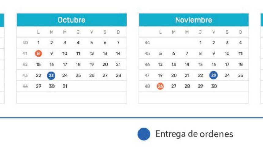 Calendario de entregas 2018